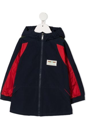 Gucci Hooded logo patch coat