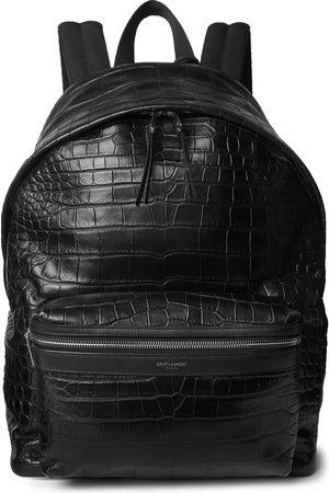 Saint Laurent City Croc-Effect Leather Backpack