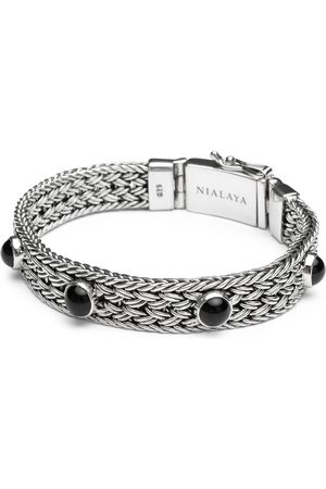 Nialaya Men's Silver Braided Chain Bracelet with Black Onyx
