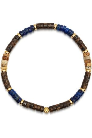 Nialaya Men's Wristband with Blue Lapis, Jasper and Coconut Heishi Beads and Gold