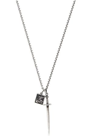 Nialaya Men's Silver Necklace with Dagger and Saint George and The Dragon Pendant