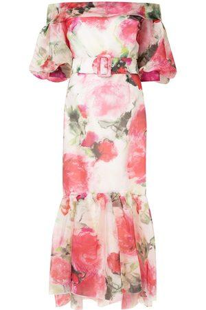 Marchesa Floral-print belted evening dress