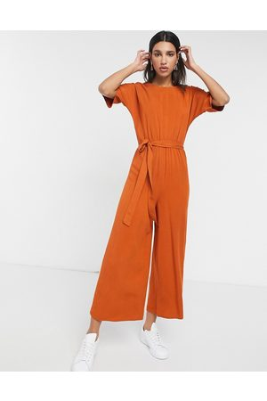 ASOS Tie waist jumpsuit in rust-Brown