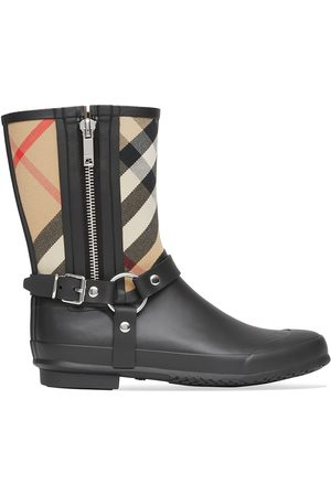 Burberry House-check strap-detail rain boots