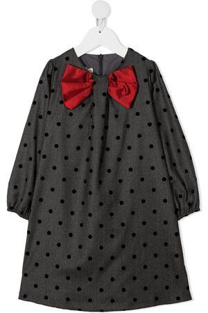 LA STUPENDERIA Meisjes Casual jurken - Bow-embellished polka-dot-print dress