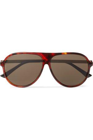 Gucci Aviator-Style Tortoiseshell Acetate and Gold-Tone Sunglasses