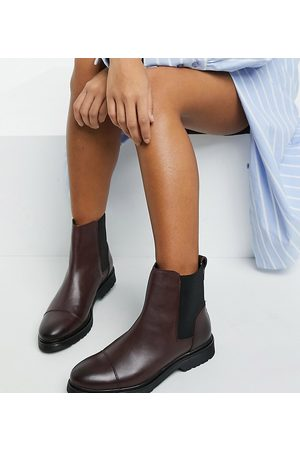 Dune Flat chelsea boots in burgundy leather-Red
