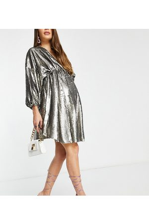 Club L Club L London Maternity sequin plunge front mini skater dress in grey