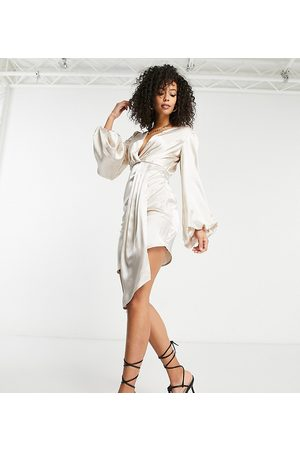 Jaded Rose Tall Exclusive plunge satin mini dress with balloon sleeve and train detail in cream