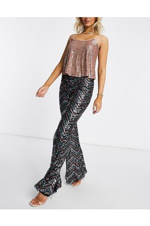 Club L Sequin patterned wide leg trouser in bronze-Brown