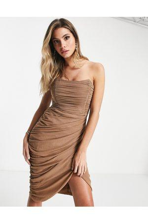 Rare Fashion Dames Midi jurken - London mesh drape wrap midi pencil dress in camel glitter