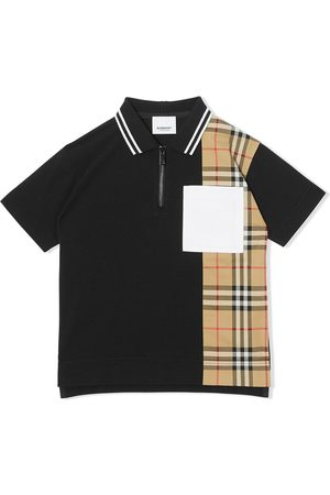 Burberry Vintage check panel zip-front polo shirt
