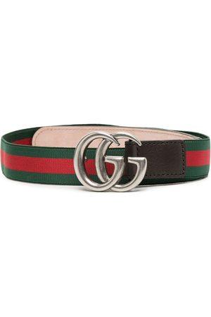 Gucci GG leather-trim belt