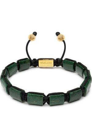 Nialaya The Flatbead Collection - Green African Jade and Gold