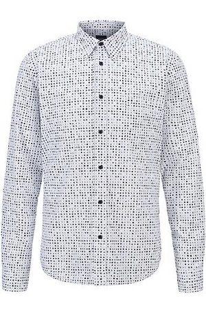 HUGO BOSS Slim-fit overhemd in een popeline van Italiaanse katoen met seizoensdessin