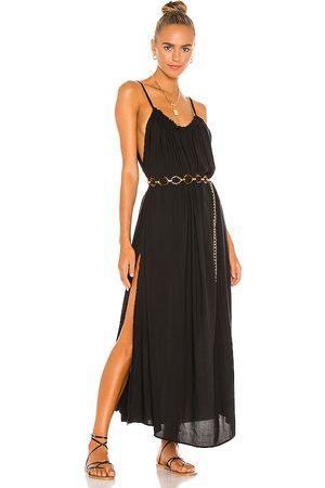 Indah Yasmine Solid Gathered Neckline Sundress Maxi in