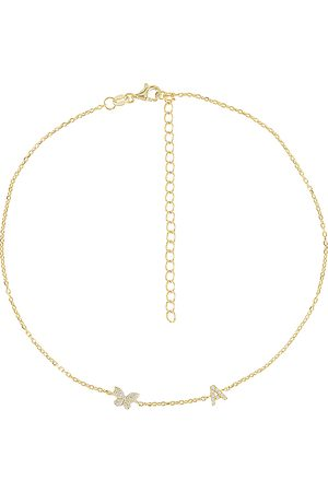 Adina's Jewels Pave Butterfly Initial Choker in