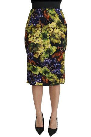 Dolce & Gabbana Grapes Stretch Midi Skirt