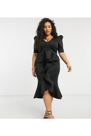True Violet Puff shoulder plunge ruffle front midi dress in black