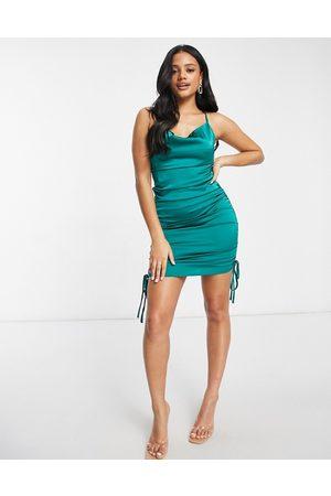 Club L Back detail satin slip dress in teal-Green