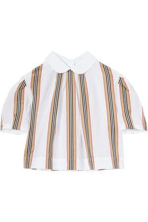 Burberry Icon-stripe short sleeved blouse