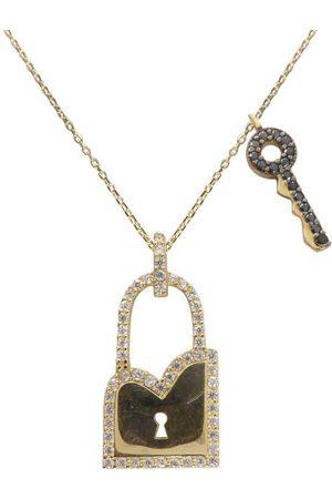Christian Gouden zirkonia sleutel met slot hanger