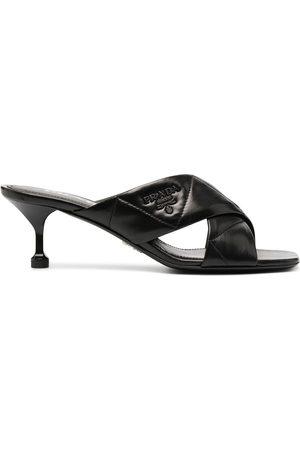 Prada Crossover-strap logo-plaque sandals