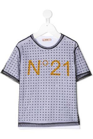 Nº21 T-shirts - TEEN sheer overlay crystal-studded T-shirt
