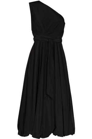 tibi One-shoulder belted-waist midi dress
