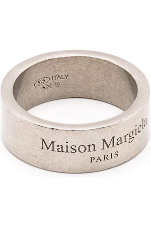 Maison Margiela Logo-engraved distressed-look ring