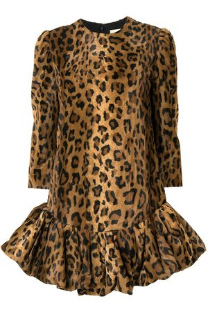 Khaite The Lorie velvet cheetah print dress