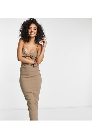 Vesper Midi dress with cut out detail in taupe-Stone