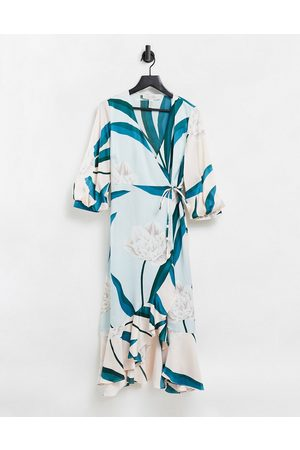 Liquorish Midi dress with balloon sleeves in turquoise floral print-Blue