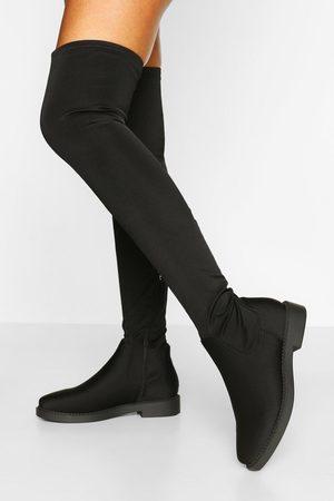 Boohoo Platte Overknee Stretch Laarzen