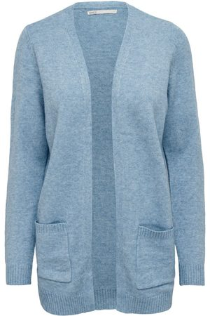 Only Dames Cardigans - Open Knitted Cardigan Dames Blauw