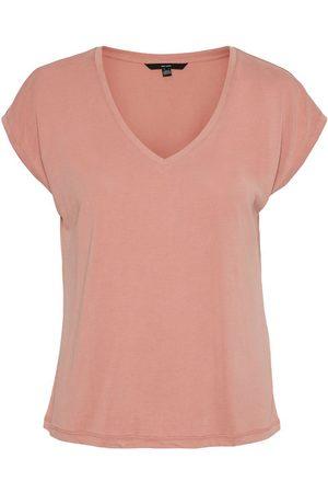 Vero Moda Dames V-neck Short Sleeved Top Dames Roze