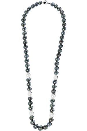 Yoko London 18kt white gold Twilight diamond, Tahitian and south sea pearl necklace