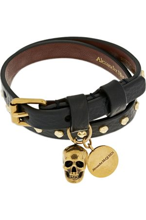 Alexander McQueen Heren Armbanden - Double Wrap Studded Leather Bracelet