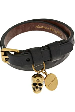 Alexander McQueen Double Wrap Studded Leather Bracelet