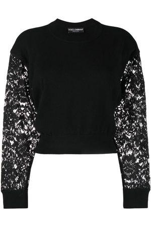 Dolce & Gabbana Dames Gebreide truien - Lace-sleeve cropped jumper
