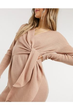 Style Cheat Emilia knit midi dress with tie in blush