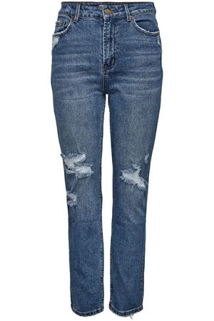 Only Onlemily Life Hw Destroyed Straight Fit Jeans Dames Blauw