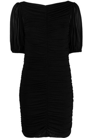 Ganni Point d'esprit ruched mini-dress