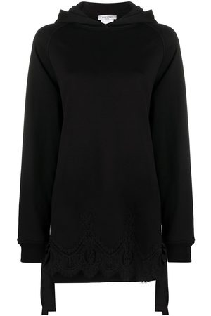 VALENTINO Lace trim bow-embellished hoodie