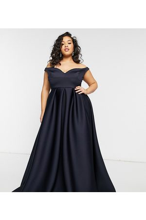 True Violet Plus True Violet Black Label Plus bardot prom maxi dress with pockets in navy