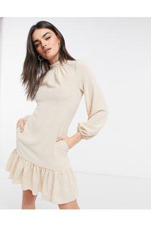 closet london High neck volume sleeve mini dress with frill hem in cream