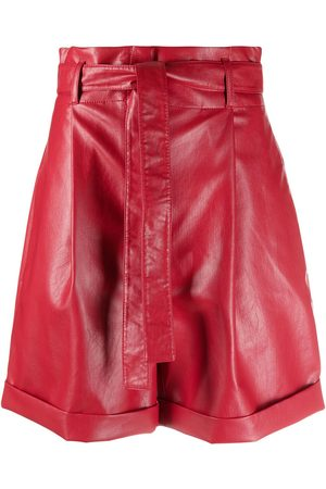 Serafini Leather-effect tie-waist shorts
