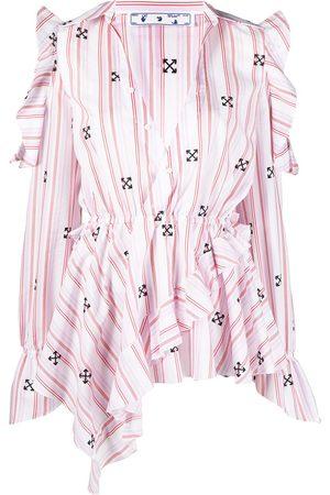 OFF-WHITE Ruffle-detail V-neck blouse