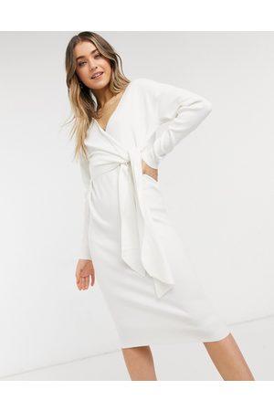 Style Cheat Loren wrap knit midi dress with tie in cream