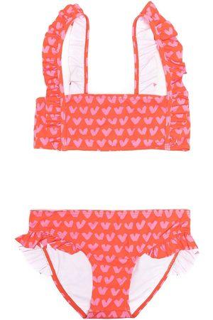 Stella McCartney TEEN heart-print ruffle-trim bikini